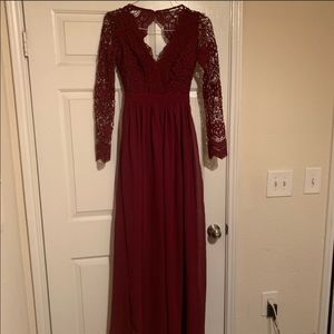 LULU'S LACE BURGUNDY SIZE XS DRESS